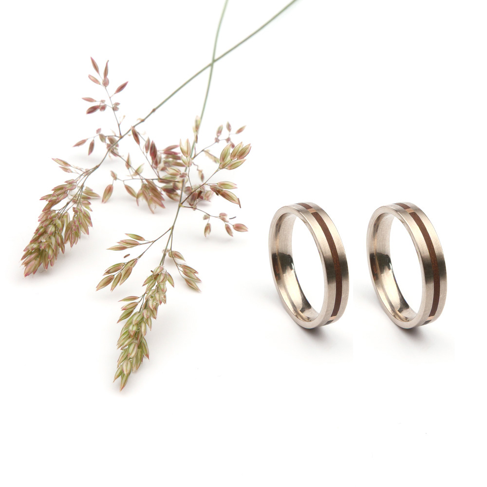 Forever wedding rings in white gold and wood