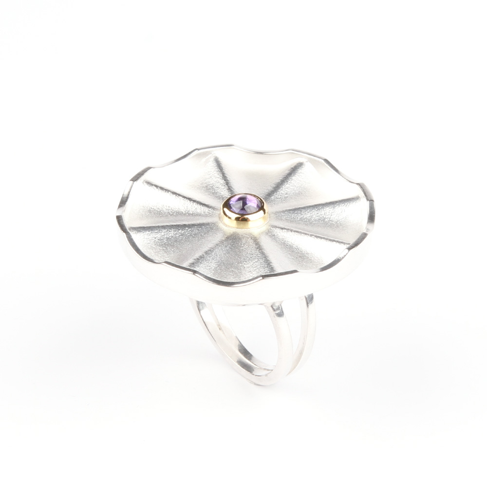 Large silver ring Flower
