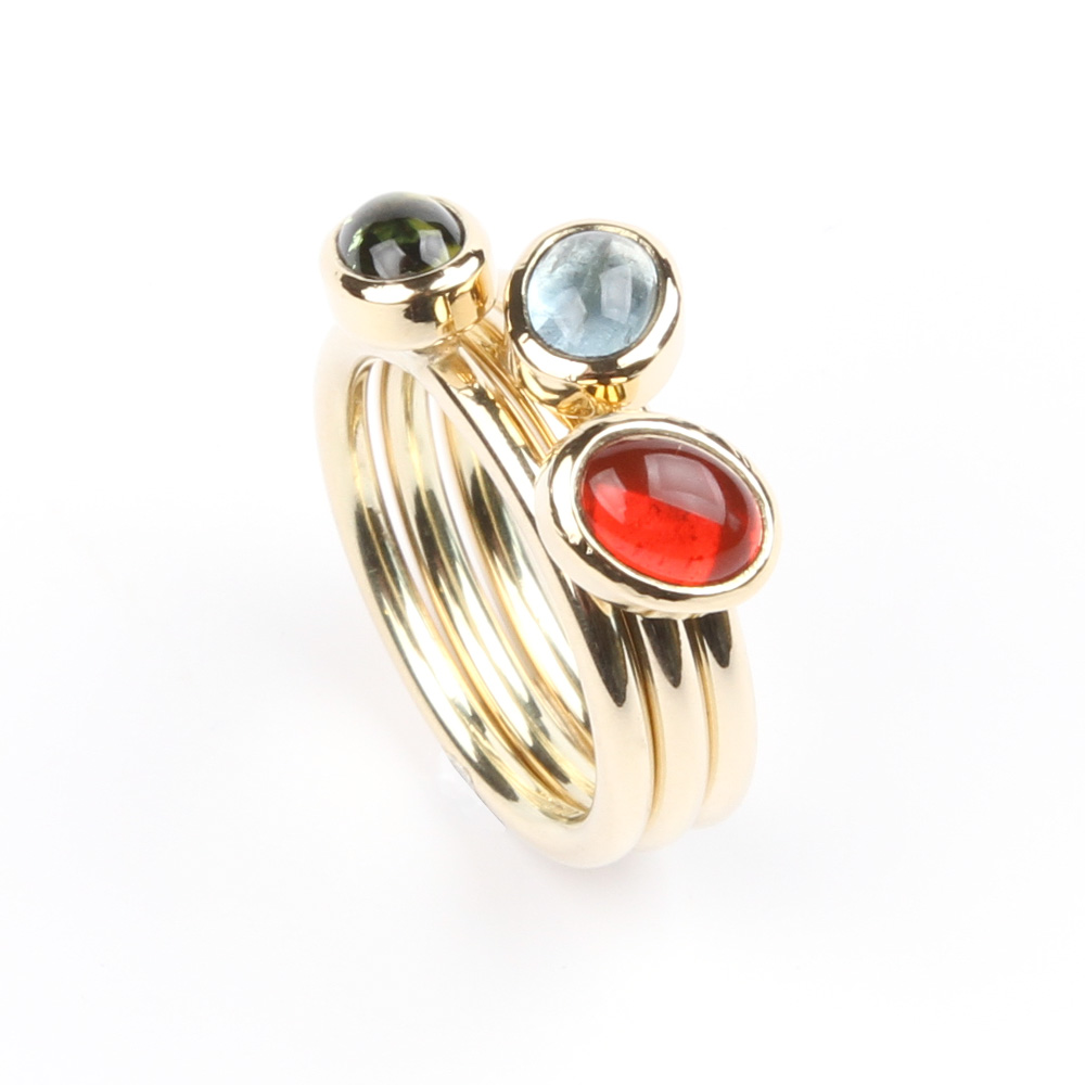 Gold ring with fire opal aquamarine and tourmaline