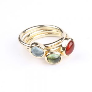 Gold ring with fire opal, aquamarine and tourmaline