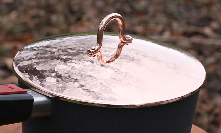 Hand forged copper pot lid