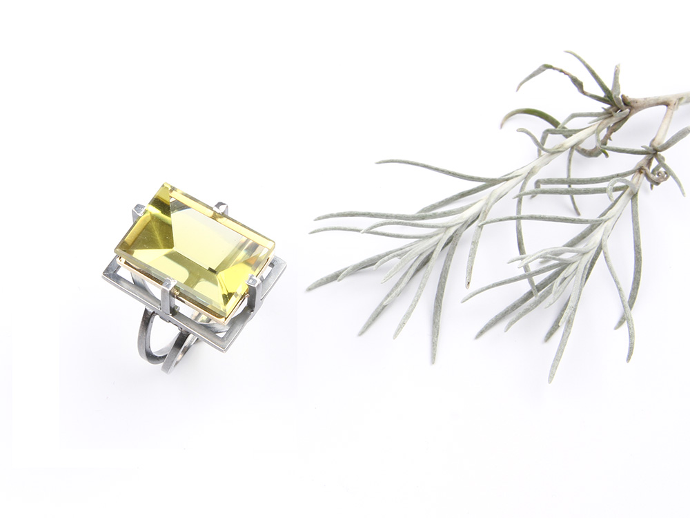 Ring Jasmine in silver and gold with citrine