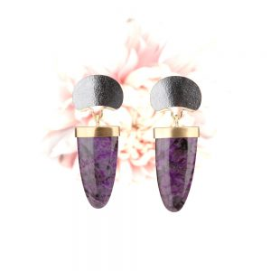 Long earrings with purple sugilite
