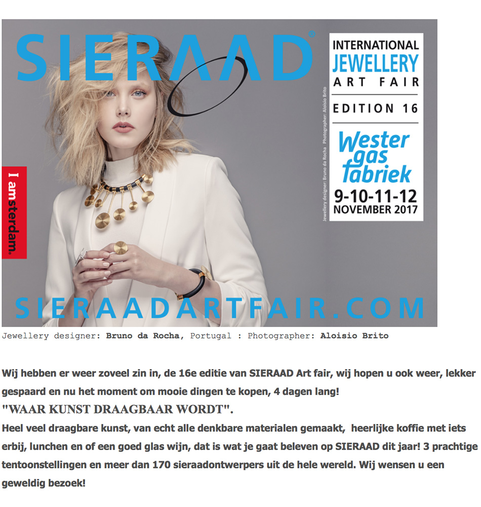 From 9 – 12 november Sieraad Art Fair in Amsterdam