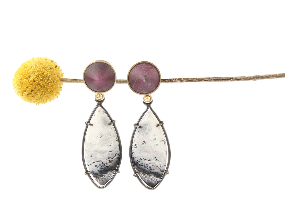 Long earrings with white opal and ruby