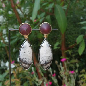 Beautiful long earrings with ruby and white opal