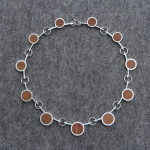 Circle necklace made of silver and wood