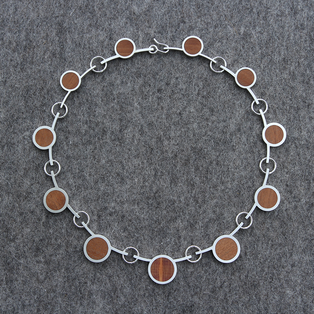 Silver necklace with wood inlay