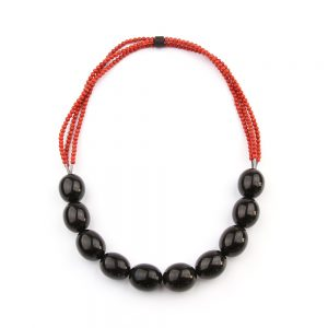 Gorgeous necklace made of jet beads and bamboo coral