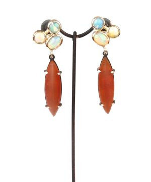 Long earrings made with opal and carnelian