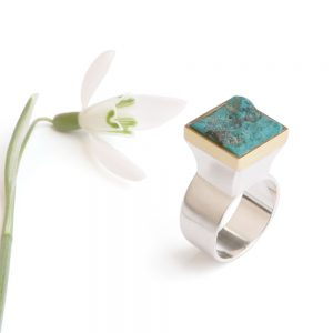 Big silver ring with turquoise