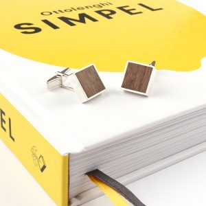 Silver cuff links with walnut wood