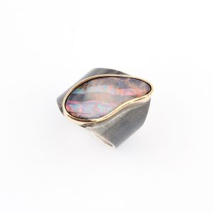 Beautiful handmade ring with a large pink opal