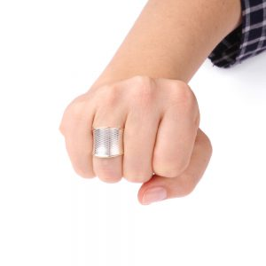 Wide silver ring with golden edges
