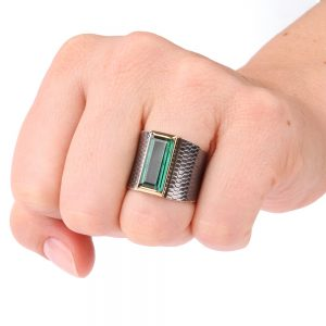 Silver ring with green tourmaline