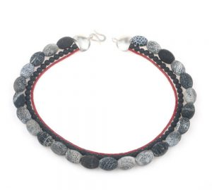 Necklace made of black and white beads