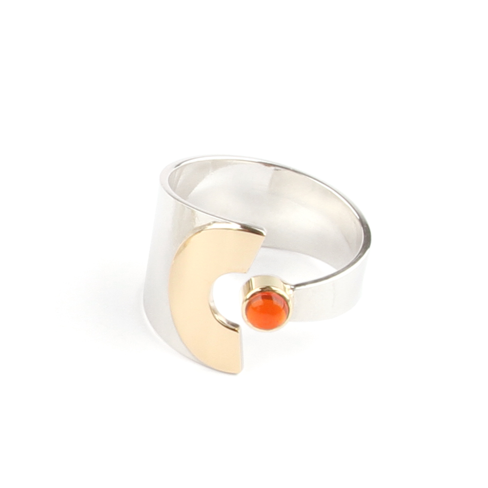 Half Moon ring with fire opal