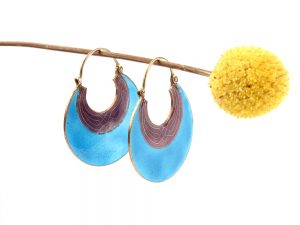 Vintage blue enamelled basket earrings
