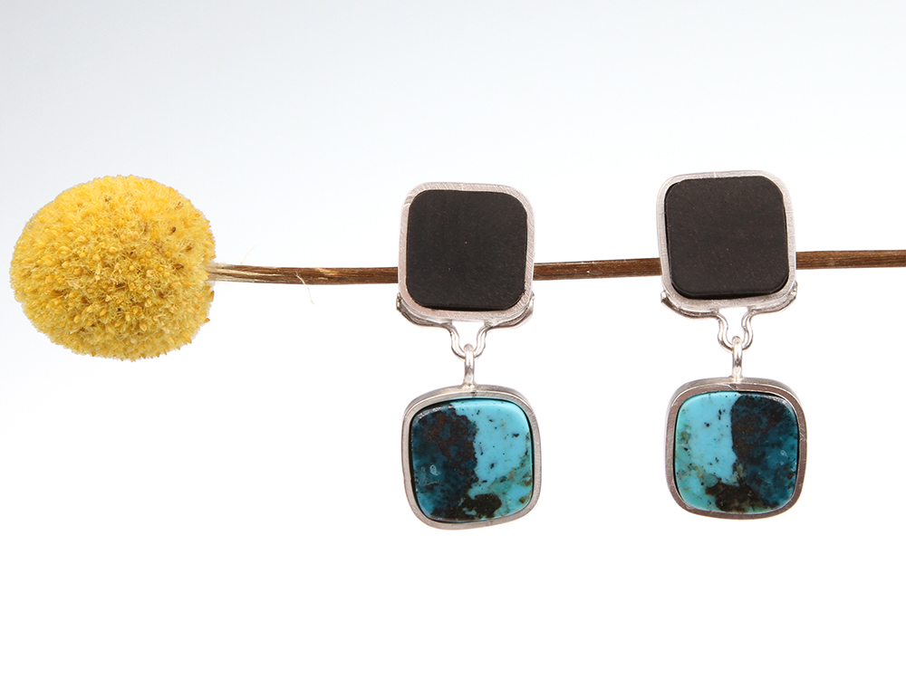 Long silver earrings made of ebony wood and turquoise
