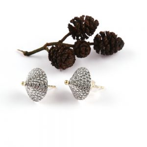 Small silver cone shaped ear studs