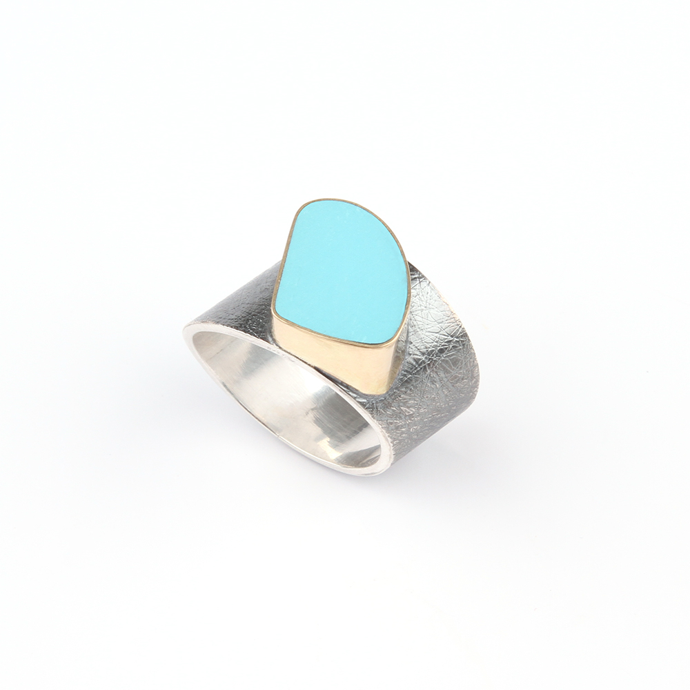 Wide silver ring with turquoise