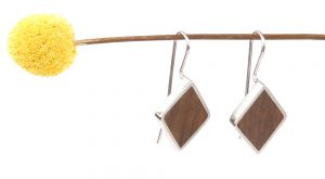 Long diamond shape earrings with wood inlay