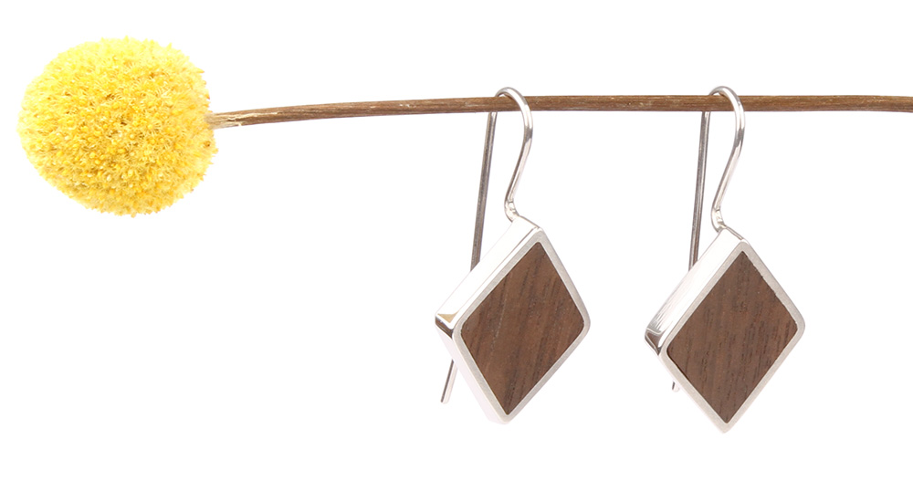 Earrings with wood inlay